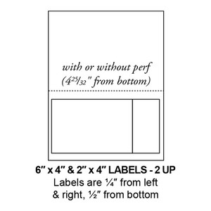 """6"""" & 2"""" x 4"""" Integrated Label Form Sheets, Perforated, 2 Up (1,500 Sheets) - LASI-6&2-4-2"""