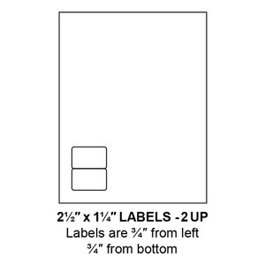 """2.5"""" x 1.25"""" Integrated Left-Oriented Label Form Sheets, 2 Up (1,500 Sheets) - LASI-25-125-2-Left"""