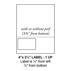 """4"""" x 2.5"""" Integrated Left-Oriented Label Form Sheets, Perforated, 1 Up (1,500 Sheets) - LASI-4-25-1-Left"""