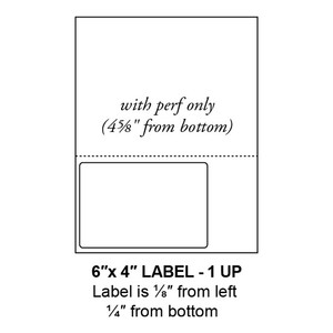 """6"""" x 4"""" Integrated Left-Oriented Label Form Sheets, Perforated, 1 Up (1,500 Sheets) - LASI-6-4-1-Left"""
