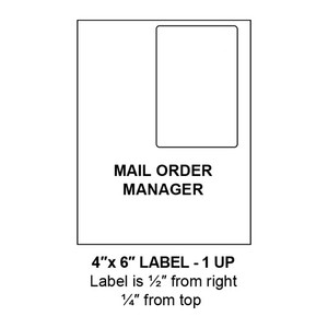 """4"""" x 6"""" Integrated Mail Order Manager Label Form Sheets, 1 Up (1,500 Sheets) - LASI-4-6-1-Mail Order"""