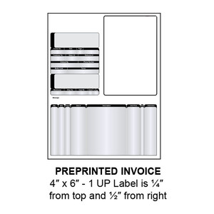 """4"""" x 6"""" Integrated Preprinted Invoice Label Form Sheets, 1 Up (1,500 Sheets) - LASI-INVOICE-1"""