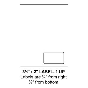 """3.5"""" x 2"""" Integrated Right-Oriented Label Form Sheets, 1 Up (1,500 Sheets) - LASI-35-2-1-Right"""