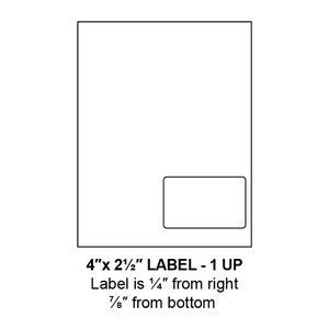 """4"""" x 2.5"""" Integrated Right-Oriented Label Form Sheets, 1 Up (1,500 Sheets) - LASI-4-25-1-Right"""