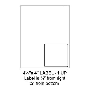 """4.125"""" x 4"""" Integrated Right-Oriented Label Form Sheets, 1 Up (1,500 Sheets) - LASI-4125-4-1-Right"""