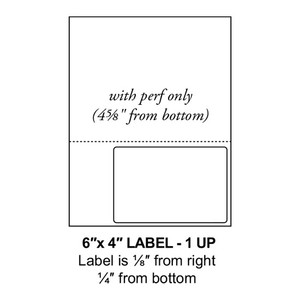 """6"""" x 4"""" Integrated Right Oriented Label Form Sheets, Perforated, 1 Up (1,500 Sheets) - LASI-6-4-1-Right"""