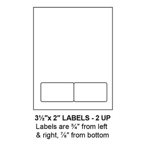 """3.5"""" x 2"""" Integrated Rounded Corner Label Form Sheets, 2 Up (1,500 Sheets) - LASI-35-2-2-RC"""