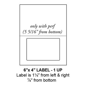 """6"""" x 4"""" Integrated Rounded Corner Label Form Sheets, Perforated, 1 Up (1,500 Sheets) - LASI-6-4-1-RC"""