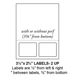 """3.5"""" x 2.75"""" Integrated Rounded Corner Label Form Sheets, Perforated, 2 Up (1,500 Sheets) - LASI-35-275-2-RC"""