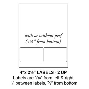 """4"""" x 2.5"""" Integrated Rounded Corner Label Form Sheets, Perforated, 2 Up (1,500 Sheets) - LASI-4-25-2-RC"""
