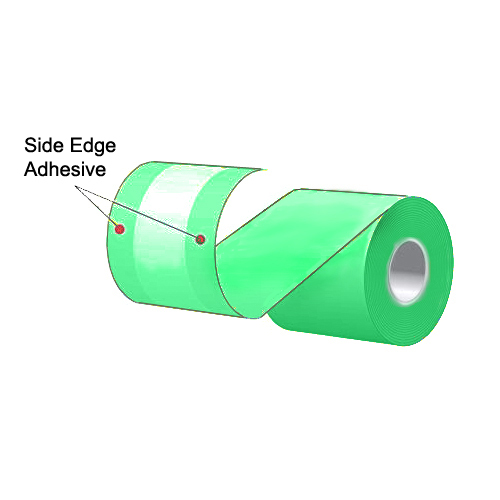 """3.125"""" x 160' MAXStick Colors Green Side Edge Adhesive Liner-Free Thermal Labels (24 Rolls)"""