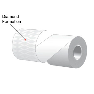 "3.125"" x 170' MAXStick Plus, Diamond Pattern Adhesive Liner-Free Thermal Labels (32 Rolls) - MS318170PLUSD"