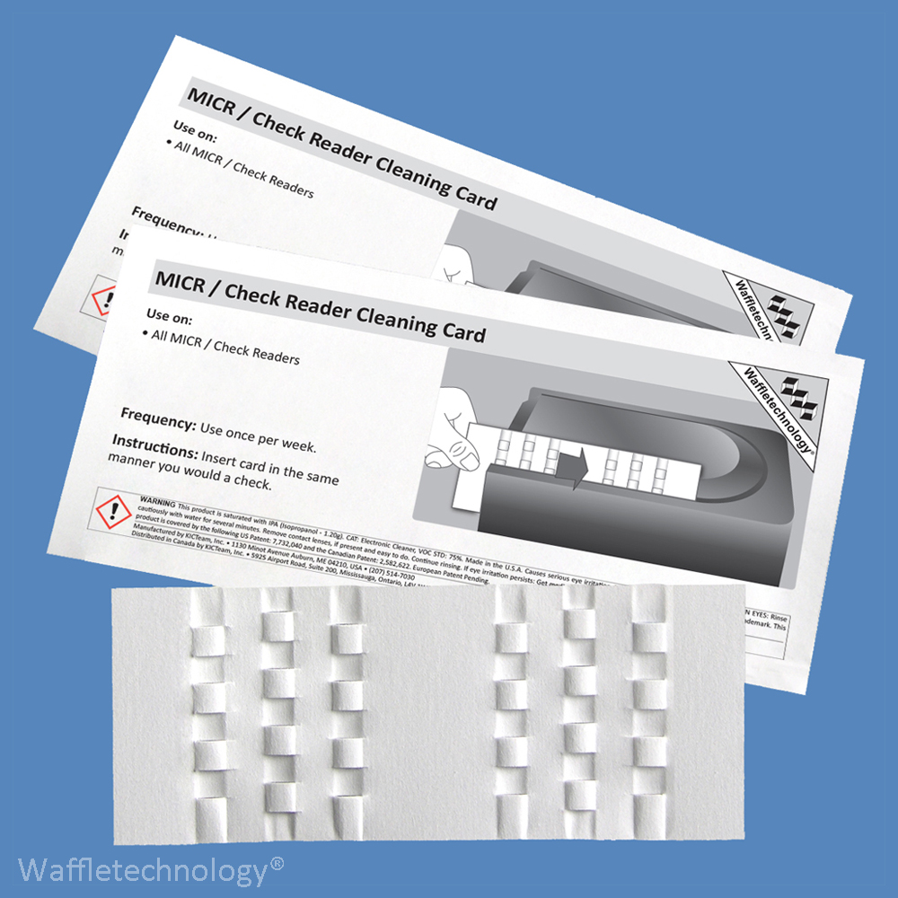 MICR / Check Reader Cleaning Cards with Waffletechnology KW3-CRB15 (15 Cards)