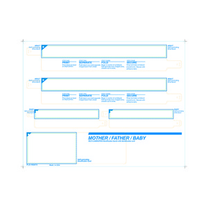 Parent / Baby Medical ID Wristband Laser Sheets with 20 Chart Labels, Clear Lamination (500 Sheets) - L-WB-PLS-105ATX