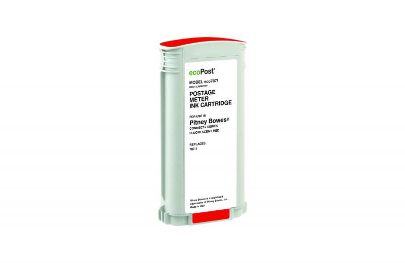Red Postage Meter Ink Cartridge for Pitney Bowes 787-1 (Remanufactured)