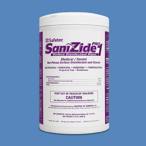 SaniZide Pro 1 EPA-Registered Surface Disinfectant Wipes, 150 Wipes/Canister (12 Canisters) - SAFETEC-35923