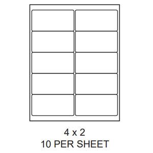 "4"" x 2"" White Matte Laser/Inkjet Label Sheets (10,000 Labels) - LAS-4-2-10-RC"