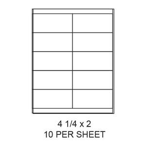 "4.25"" x 2"" White Matte Laser/Inkjet Label Sheets (10,000 Labels) - LAS-425-2-10"