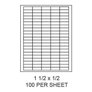 "1.5"" x 0.5"" White Matte Laser/Inkjet Label Sheets (100,000 Labels) - LAS-15-05-100"