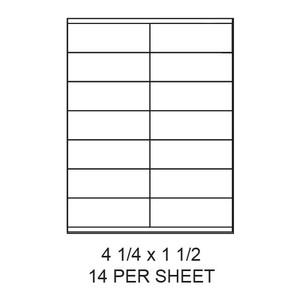 "4.25"" x 1.5"" White Matte Laser/Inkjet Label Sheets (14,000 Labels) - LAS-425-15-14"