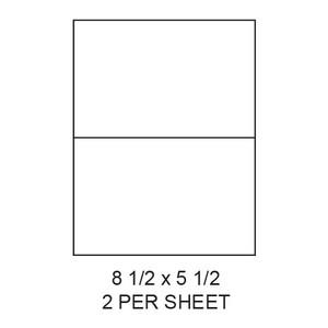 "8.5"" x 5.5"" White Matte Laser/Inkjet Label Sheets (2,000 Labels) - LAS-85-55-2"