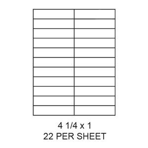 "4.25"" x 1"" White Matte Laser/Inkjet Label Sheets (22,000 Labels) - LAS-425-1-22"