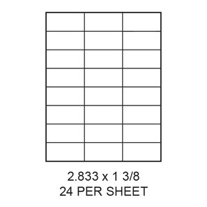"2.833"" x 1.375"" White Matte Laser/Inkjet Label Sheets (24,000 Labels) - LAS-2833-1375-24"