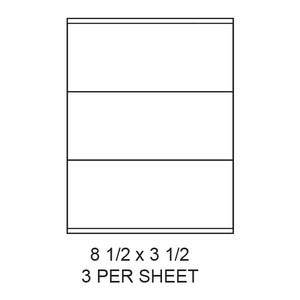 "8.5"" x 3.5"" White Matte Laser/Inkjet Label Sheets (3,000 Labels) - LAS-85-35-3"