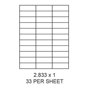 "2.833"" x 1"" White Matte Laser/Inkjet Label Sheets (33,000 Labels) - LAS-2833-1-33"