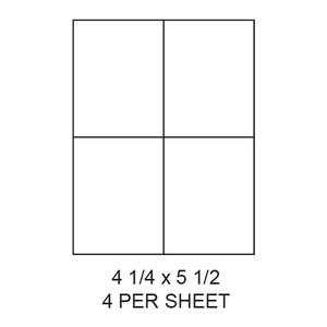 "4.25"" x 5.5"" White Matte Laser/Inkjet Label Sheets (4,000 Labels) - LAS-425-55-4"