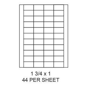 "1.75"" x 1"" White Matte Laser/Inkjet Label Sheets (44,000 Labels) - LAS-175-1-44"