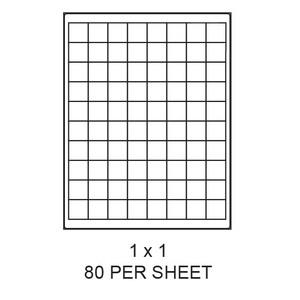 "1"" x 1"" White Matte Laser/Inkjet Label Sheets (80,000 Labels) - LAS-1-1-80"