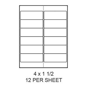 "4"" x 1.5"" White Matte Round Corner Laser/Inkjet Label Sheets (12,000 Labels) - LAS-4-15-12-RC"
