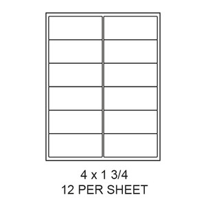 "4"" x 1.75"" White Matte Round Corner Laser/Inkjet Label Sheets (12,000 Labels) - LAS-4-175-12-RC"