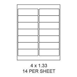 "4"" x 1.33"" White Matte Round Corner Laser/Inkjet Label Sheets (14,000 Labels) - LAS-4-133-14-RC"