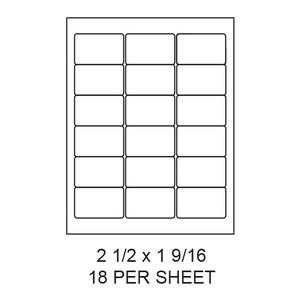 "2.5"" x 1.563"" White Matte Round Corner Laser/Inkjet Label Sheets (18,000 Labels) - LAS-25-1563-18-RC"