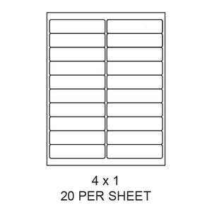 "4"" x 1"" White Matte Round Corner Laser/Inkjet Label Sheets (20,000 Labels) - LAS-4-1-20-RC"