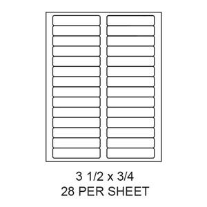 "3.5"" x 0.75"" White Matte Round Corner Laser/Inkjet Label Sheets (28,000 Labels) - LAS-35-075-28-RC"