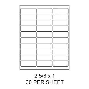 "2.625"" x 1"" White Matte Round Corner Laser/Inkjet Label Sheets (30,000 Labels) - LAS-2625-1-30-RC"