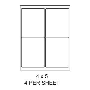 "4"" x 5"" White Matte Round Corner Laser/Inkjet Label Sheets (4,000 Labels) - LAS-4-5-4-RC"