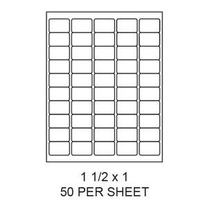 "1.5"" x 1"" White Matte Round Corner Laser/Inkjet Label Sheets (50,000 Labels) - LAS-15-1-50-RC"