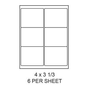 "4"" x 3.33"" White Matte Round Corner Laser/Inkjet Label Sheets (6,000 Labels) - LAS-4-333-6-RC"