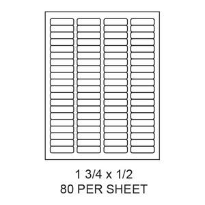 "1.75"" x 0.5"" White Matte Round Corner Laser/Inkjet Label Sheets (80,000 Labels) - LAS-175-05-80-RC"