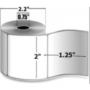 "Zebra 8000D Lab, 2"" x 1.25"", Direct Thermal Paper Label, 12 Rolls, #10015772 - ZEB-10015772"