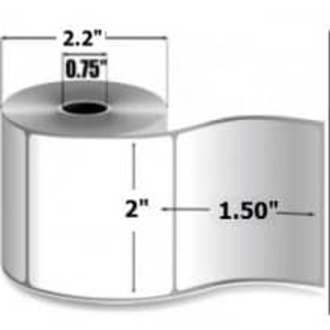"Zebra 8000D Lab, 2"" x 1.5"", Direct Thermal Paper Label, 12 Rolls, #10015773 - ZEB-10015773"