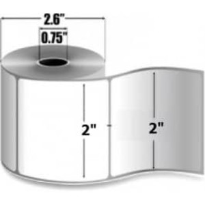"Zebra PolyPro 4000T, 2"" x 2"", Thermal Transfer Label, 12 Rolls, #10017576 - ZEB-10017576"