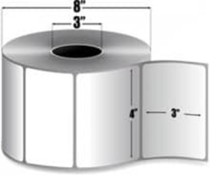 "Zebra PolyPro 4000T 4"" x 3"" Thermal Transfer Label, 3"" Core, 4 Roll/Case - ZEB-10008531"
